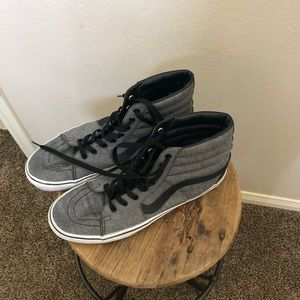 Black and Gray old school high top black vans!